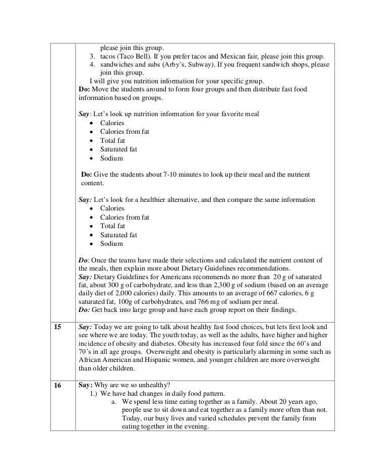 unit 7 fast food lesson plan