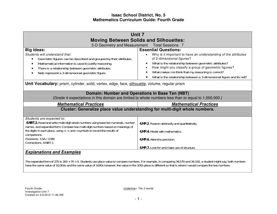 Isaac School District, No. 5                                                  Mathematics Curriculum Guide: Fourth Grade  ...
