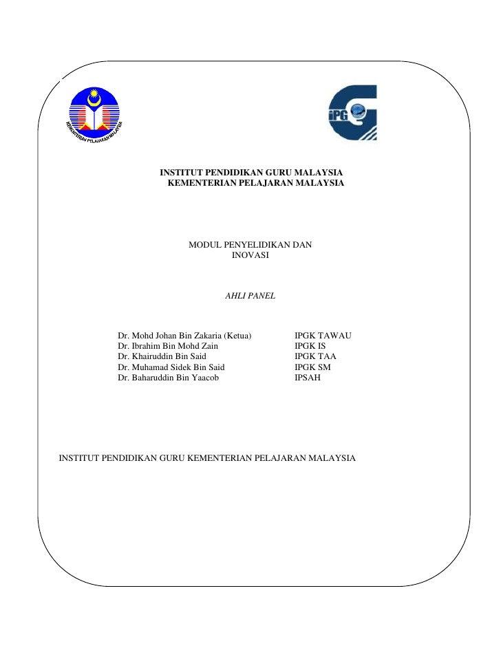 INSTITUT PENDIDIKAN GURU MALAYSIA                      KEMENTERIAN PELAJARAN MALAYSIA                            MODUL PEN...