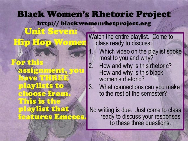 Black Women's Rhetoric Projecthttp:// blackwomenrhetproject.orgUnit Seven:Hip Hop WomenFor thisassignment, youhave THREEpl...