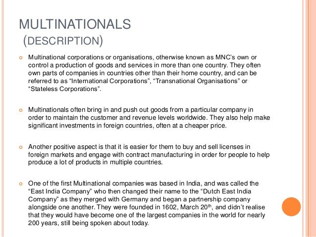 facts on mncs known as transnational corporations or international corporations The role of non-state actors in international relations  actors which are the transnational corporations  corporations (mncs).