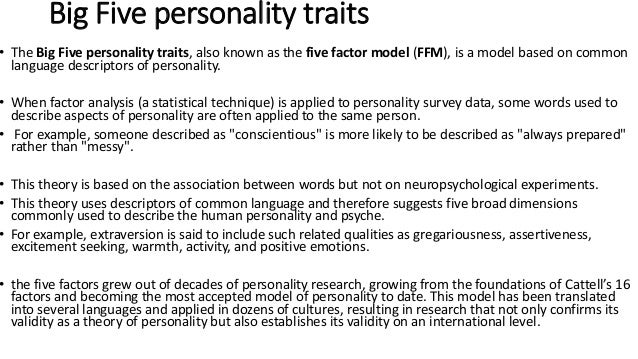 big five personality traits dating