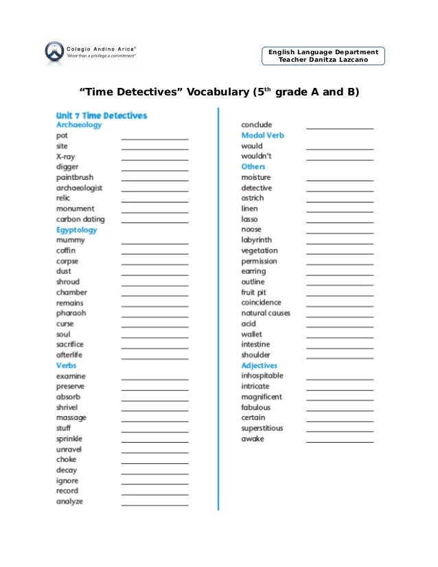 """Time Detectives"" Vocabulary (5th grade A and B) English Language Department Teacher Danitza Lazcano"