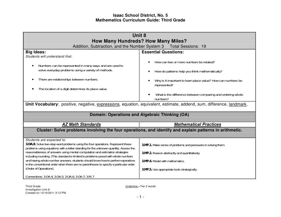 Isaac School District, No. 5                                                      Mathematics Curriculum Guide: Third Grad...
