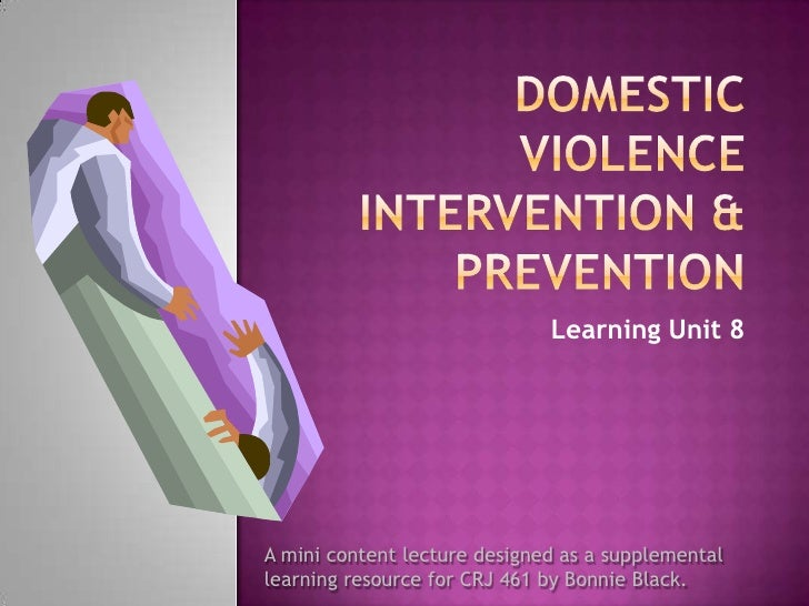 DOMESTIC VIOLENCE Intervention & Prevention<br />Learning Unit 8<br />A mini content lecture designed as a supplemental <b...