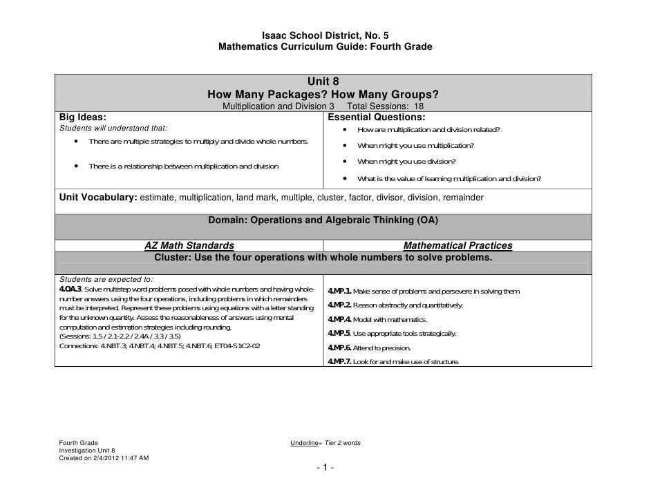 Isaac School District, No. 5                                                    Mathematics Curriculum Guide: Fourth Grade...