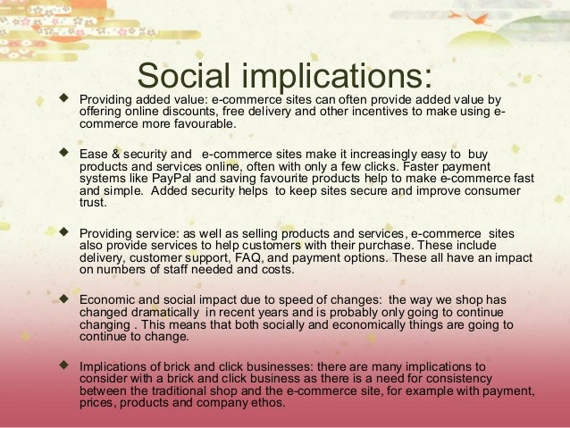 Examine the social implications of e commerce on society