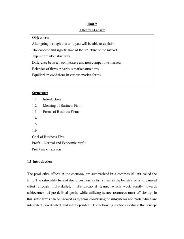 Unit 9                                     Theory of a firm   Objectives:   After going through this unit, you will be abl...