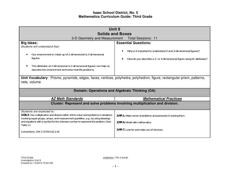 Isaac School District, No. 5                                                       Mathematics Curriculum Guide: Third Gra...