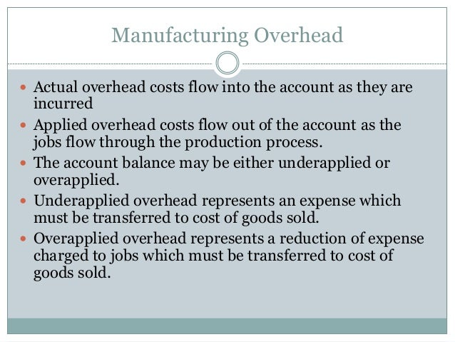 Manufacturing Overhead  Actual overhead costs flow into the account as they are        incurred Applied overhead cost...