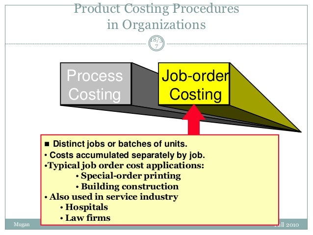 Product Costing Procedures in Organizations 18/3 7  Process Costing  Job-order Costing   Distinct jobs or batches of unit...