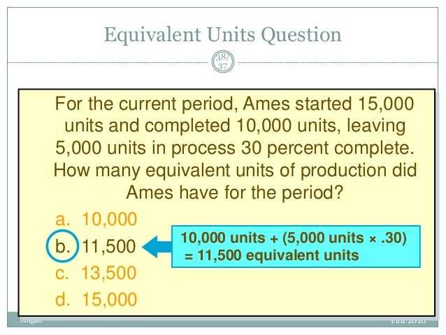 Equivalent Units Question 38/ 37  For the current period, Ames started 15,000 units and completed 10,000 units, leaving 5,...