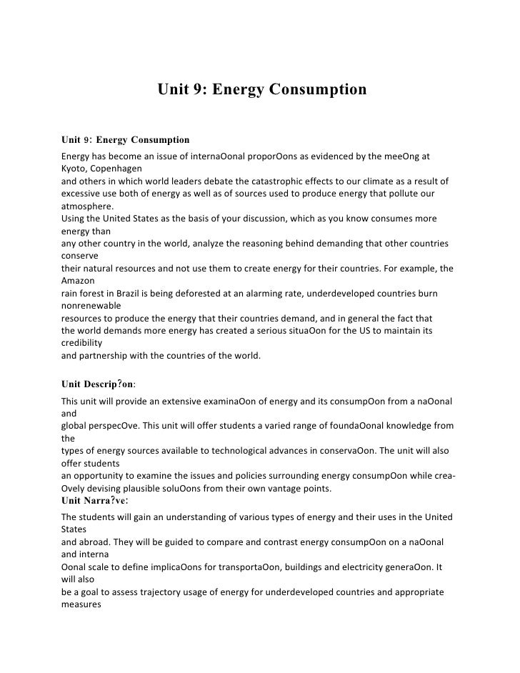 Scientific Analytical Reasoning & Problem Solving in Comparative Unit 9: Energy Consumption  World Perspective Unit 9: Ene...