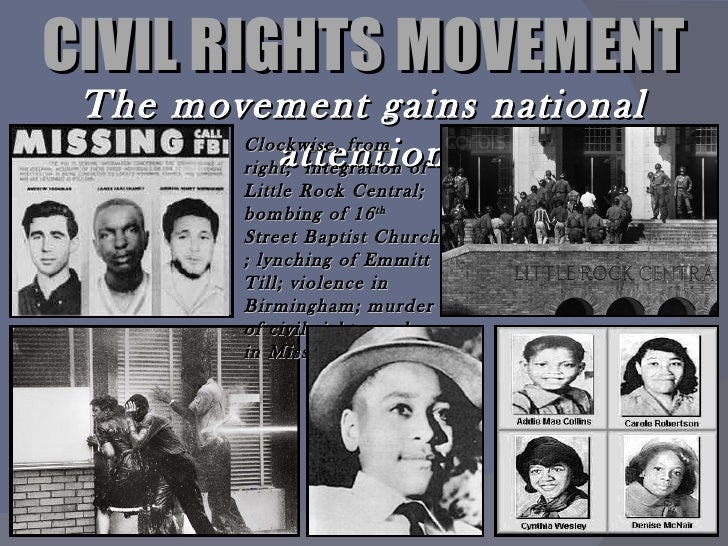 civil rights movement The civil rights movement was an era dedicated to activism for equal rights and treatment of african americans in the united states during this period, people .