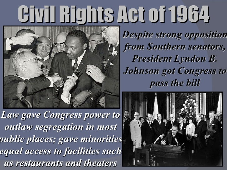 """an interpretation of the american civil rights act of 1964 Jenny bourne, """"a stone of hope"""": the civil rights act of 1964 and its impact on the economic status of black americans, 74 la l rev (2014) act of 1964 ( cra) carved american law anew2 in particular, title vii forbade employers black americans statistical analysis conducted in this article indicates that the impact."""