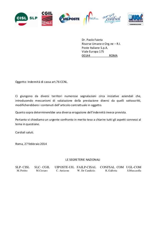 Dr. Paolo Faieta Risorse Umane e Org.ne – R.I. Poste Italiane S.p.A. Viale Europa 175 00144 ROMA  Oggetto: Indennità di ca...