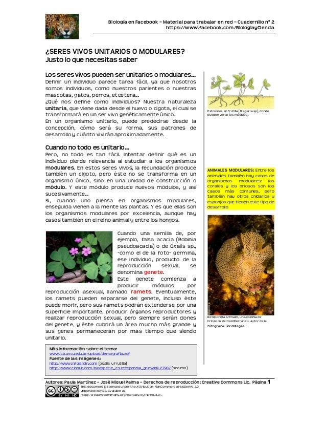 Biología en Facebook – Material para trabajar en red – Cuadernillo nº 2                                                   ...