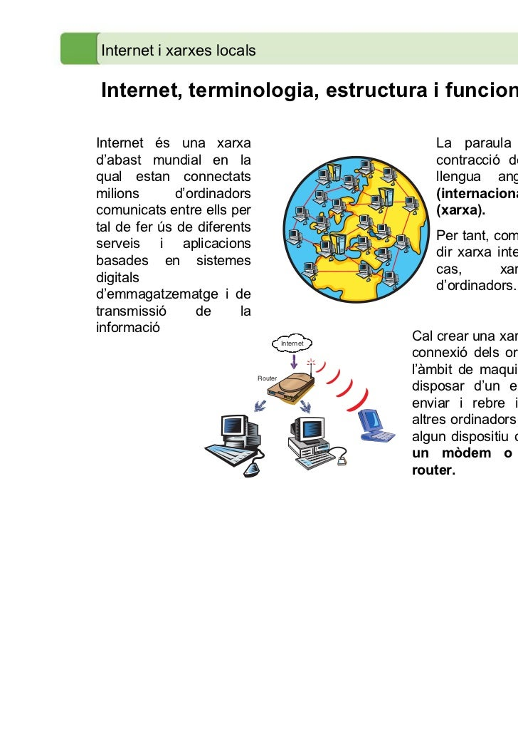 Internet i xarxes localsInternet, terminologia, estructura i funcionamentInternet és una xarxa                            ...