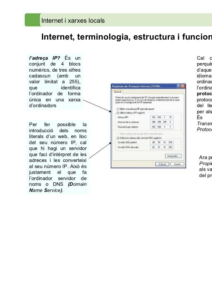 Internet i xarxes locals     Internet, terminologia, estructura i funcionamentl'adreça IP? És un                         C...