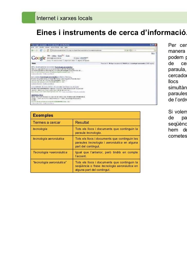 Internet i xarxes locals  Eines i instruments de cerca d'informació.                                                      ...