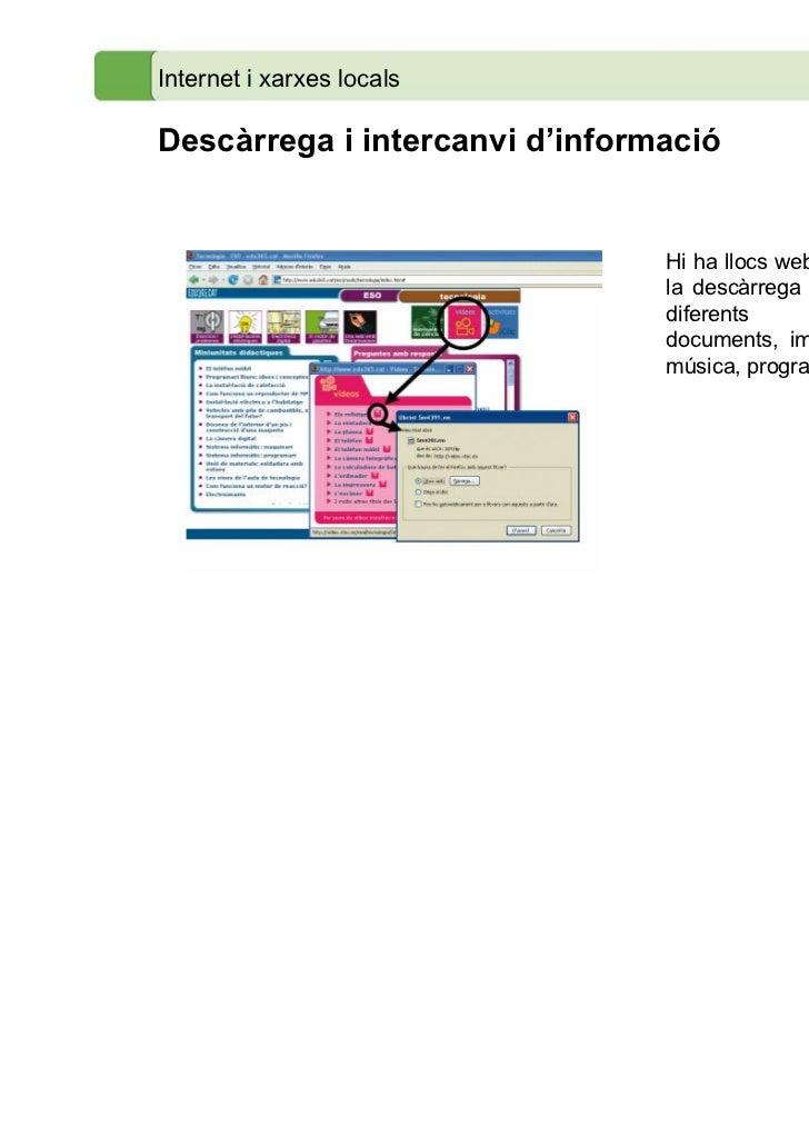 Internet i xarxes localsDescàrrega i intercanvi d'informació                                Hi ha llocs web que ofereixen ...