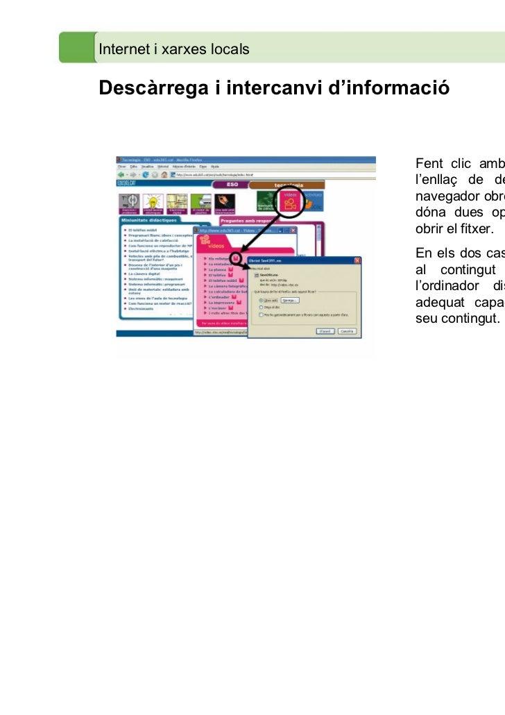 Internet i xarxes localsDescàrrega i intercanvi d'informació                                Fent clic amb el ratolí damunt...