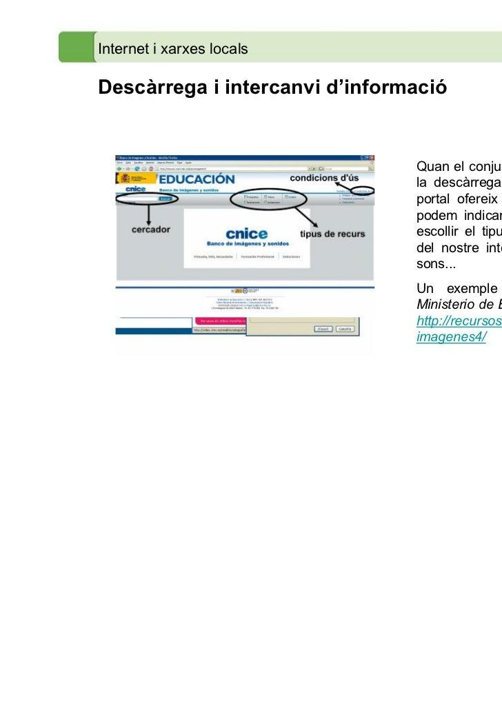 Internet i xarxes localsDescàrrega i intercanvi d'informació                                Quan el conjunt de recursos pe...