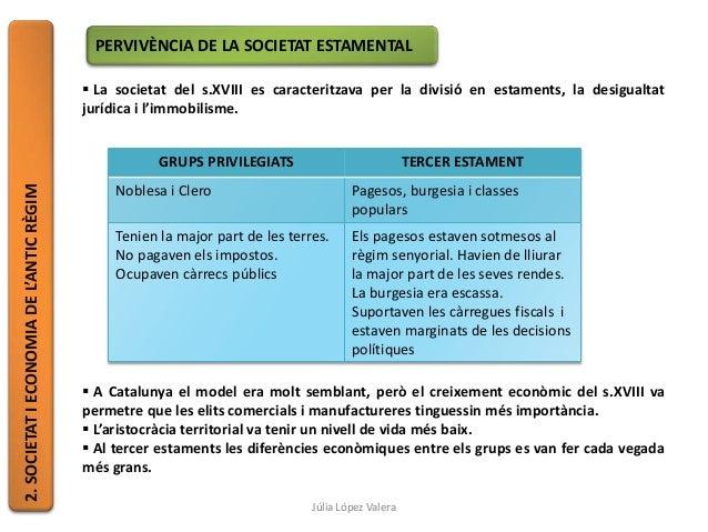2.SOCIETATIECONOMIADEL'ANTICRÈGIM PERVIVÈNCIA DE LA SOCIETAT ESTAMENTAL  La societat del s.XVIII es caracteritzava per la...