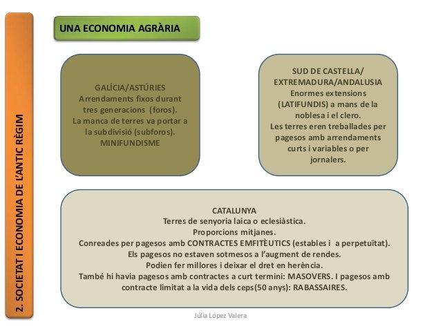 2.SOCIETATIECONOMIADEL'ANTICRÈGIM UNA ECONOMIA AGRÀRIA GALÍCIA/ASTÚRIES Arrendaments fixos durant tres generacions (foros)...
