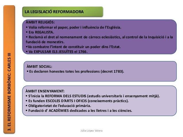 3.ELREFORMISMEBORBÒNIC:CARLESIII LA LEGISLACIÓ REFORMADORA ÀMBIT RELIGIÓS:  Volia reformar el paper, poder i influència d...