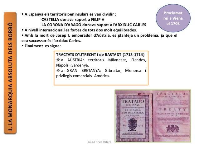 1.LAMONARQUIAABSOLUTADELSBORBÓ  A Espanya els territoris peninsulars es van dividir : CASTELLA donava suport a FELIP V LA...