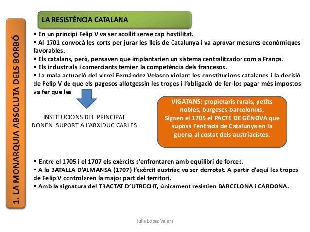 1.LAMONARQUIAABSOLUTADELSBORBÓ LA RESISTÈNCIA CATALANA  En un principi Felip V va ser acollit sense cap hostilitat.  Al ...