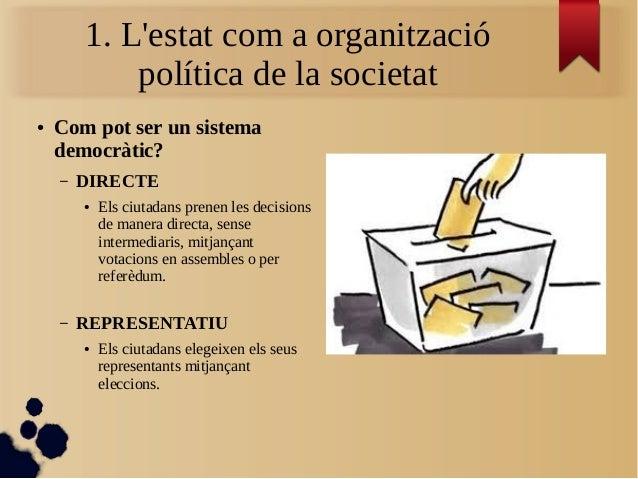 1. L'estat com a organització política de la societat ● Com pot ser un sistema democràtic? – DIRECTE ● Els ciutadans prene...