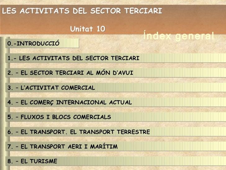 LES ACTIVITATS DEL SECTOR TERCIARI                   Unitat 10                                          Índex general 0.-I...