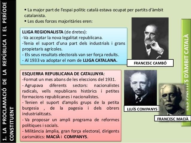 1.LAPROCLAMACIÓDELAREPÚBLICAIELPERÍODE CONSTITUENT ELSPARTITSD'ÀMBITCATALÀ  La major part de l'espai polític català estav...