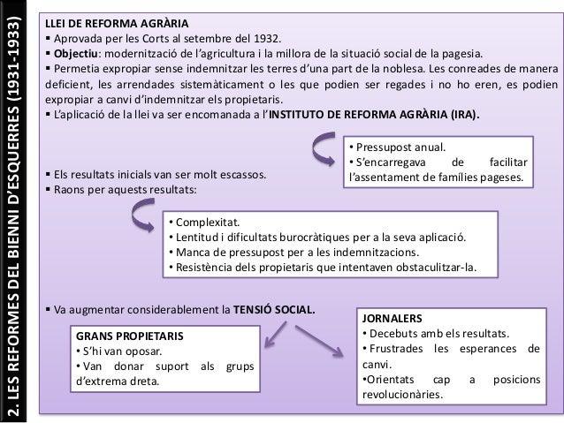 2.LESREFORMESDELBIENNID'ESQUERRES(1931-1933) LLEI DE REFORMA AGRÀRIA  Aprovada per les Corts al setembre del 1932.  Obje...