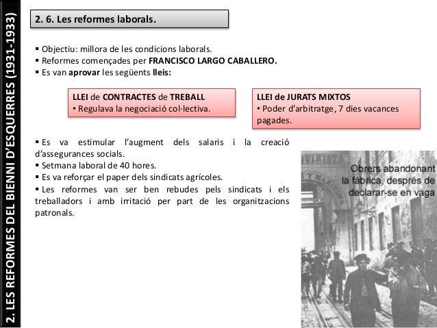 2.LESREFORMESDELBIENNID'ESQUERRES(1931-1933) 2. 6. Les reformes laborals.  Objectiu: millora de les condicions laborals. ...
