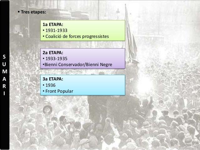 S U M A R I  Tres etapes: 1a ETAPA: • 1931-1933 • Coalició de forces progressistes 2a ETAPA: • 1933-1935 •Bienni Conserva...