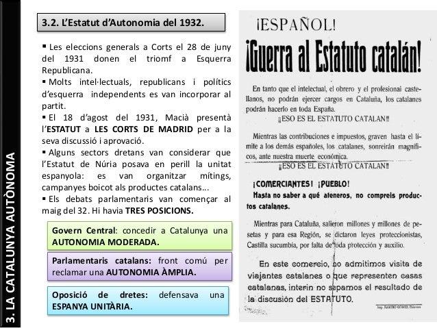 3.LACATALUNYAAUTÒNOMA 3.2. L'Estatut d'Autonomia del 1932.  Les eleccions generals a Corts el 28 de juny del 1931 donen e...