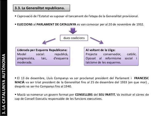 3.LACATALUNYAAUTÒNOMA 3.3. La Generalitat republicana.  L'aprovació de l'Estatut va suposar el tancament de l'etapa de la...