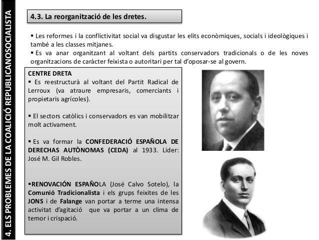 4.ELSPROBLEMESDELACOALICIÓREPUBLICANOSOCIALISTA 4.3. La reorganització de les dretes.  Les reformes i la conflictivitat s...