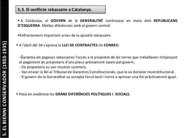 5.ELBIENNICONSERVADOR(1933-1935) 5.3. El conflicte rabassaire a Catalunya.  A Catalunya, el GOVERN de la GENERALITAT cont...
