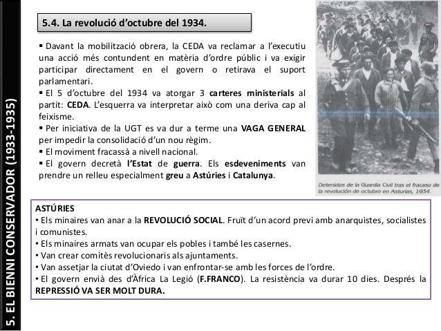 5.ELBIENNICONSERVADOR(1933-1935) 5.4. La revolució d'octubre del 1934.  Davant la mobilització obrera, la CEDA va reclama...