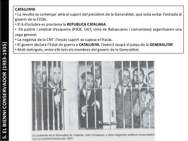 5.ELBIENNICONSERVADOR(1933-1935) CATALUNYA • La revolta va començar amb el suport del president de la Generalitat, que vol...