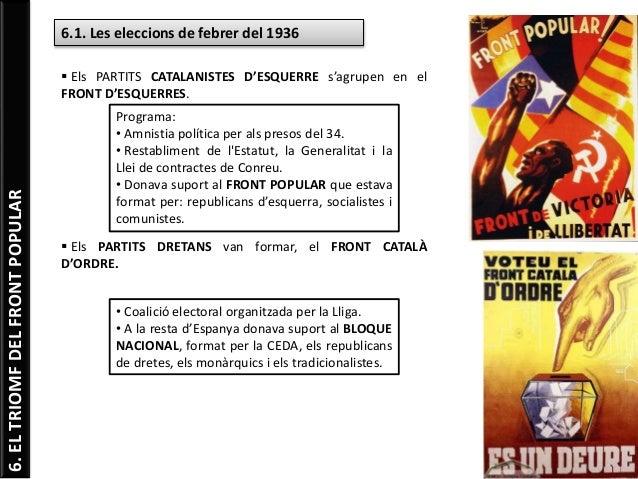 6.ELTRIOMFDELFRONTPOPULAR 6.1. Les eleccions de febrer del 1936  Els PARTITS CATALANISTES D'ESQUERRE s'agrupen en el FRON...