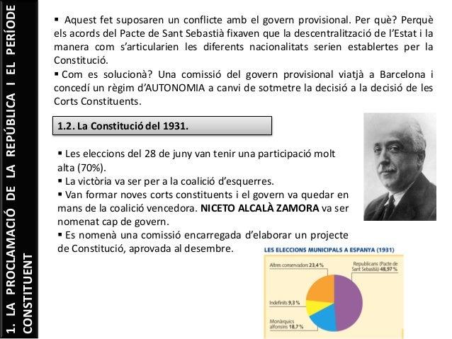 1.LAPROCLAMACIÓDELAREPÚBLICAIELPERÍODE CONSTITUENT  Aquest fet suposaren un conflicte amb el govern provisional. Per què?...