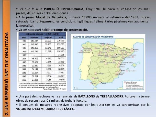 2.UNAREPRESSIÓINSTITUCIONALITZADA  Pel que fa a la POBLACIÓ EMPRESONADA, l'any 1940 hi havia al voltant de 280.000 presos...