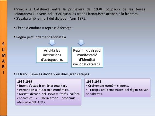 S U M A R I  S'inicia a Catalunya entre la primavera del 1938 (ocupació de les terres lleidatanes) i l'hivern del 1939, q...