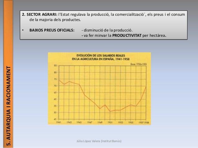 Júlia López Valera (Institut Banús) 5.AUTARQUIAIRACIONAMENT 2. SECTOR AGRARI: l'Estat regulava la producció, la comerciali...