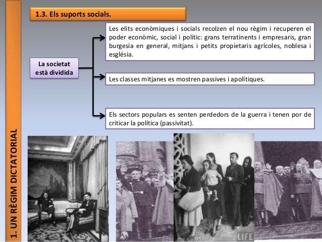 1.UNRÈGIMDICTATORIAL 1.3. Els suports socials. La societat està dividida Les elits econòmiques i socials recolzen el nou r...